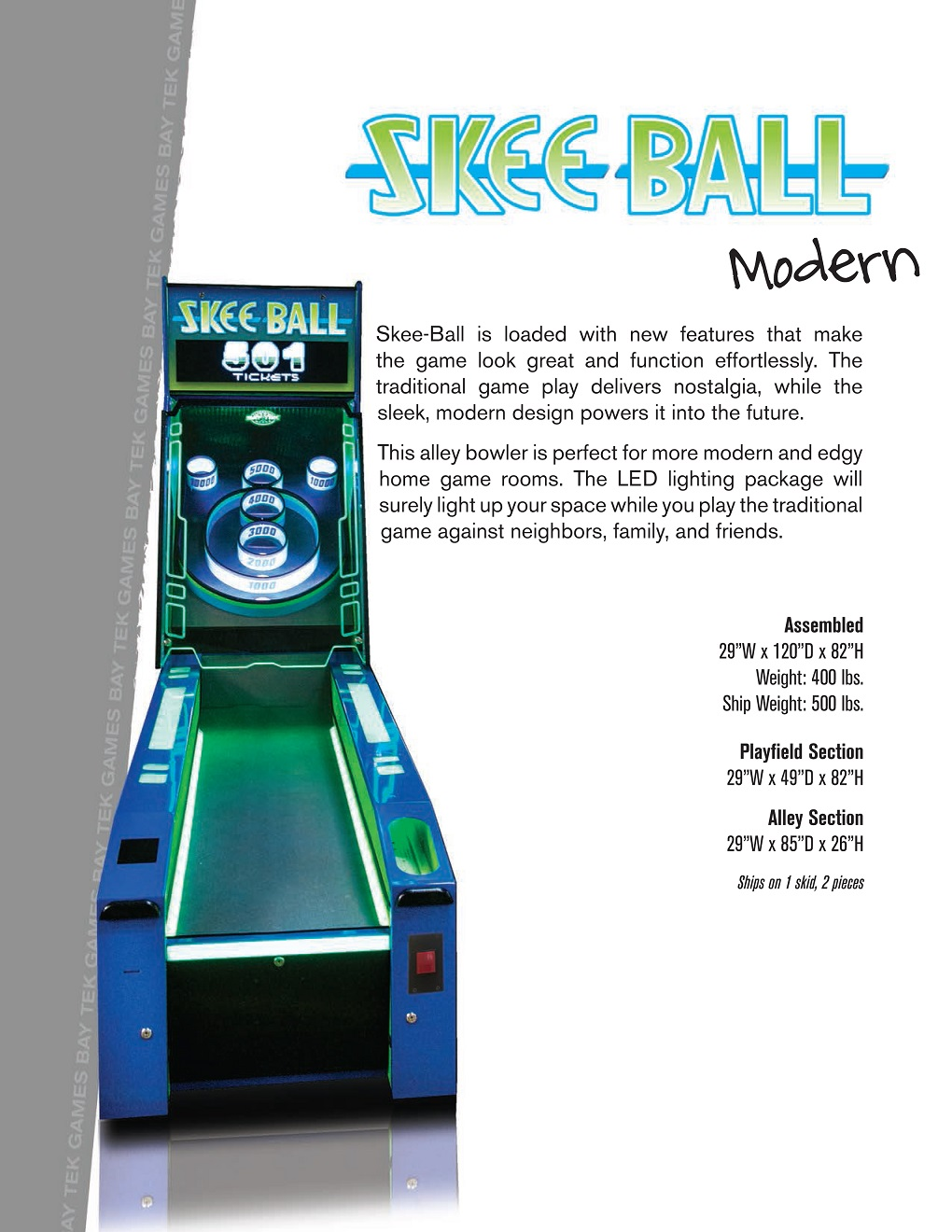 Skee Ball Modern Alley 10 Game Home Version